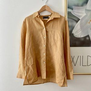 Vintage Tops - Vintage Linen Relaxed Button Up Tunic